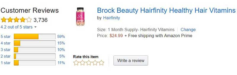 hairfinity hair vitamins Amazon customer reviews & rating