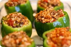 How to make stuffed green peppers ground beef rice recipe