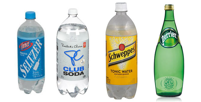 seltzer vs tonic vs sparkling minera club soda water
